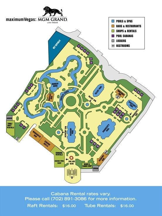 mgm grand las vegas Pool map