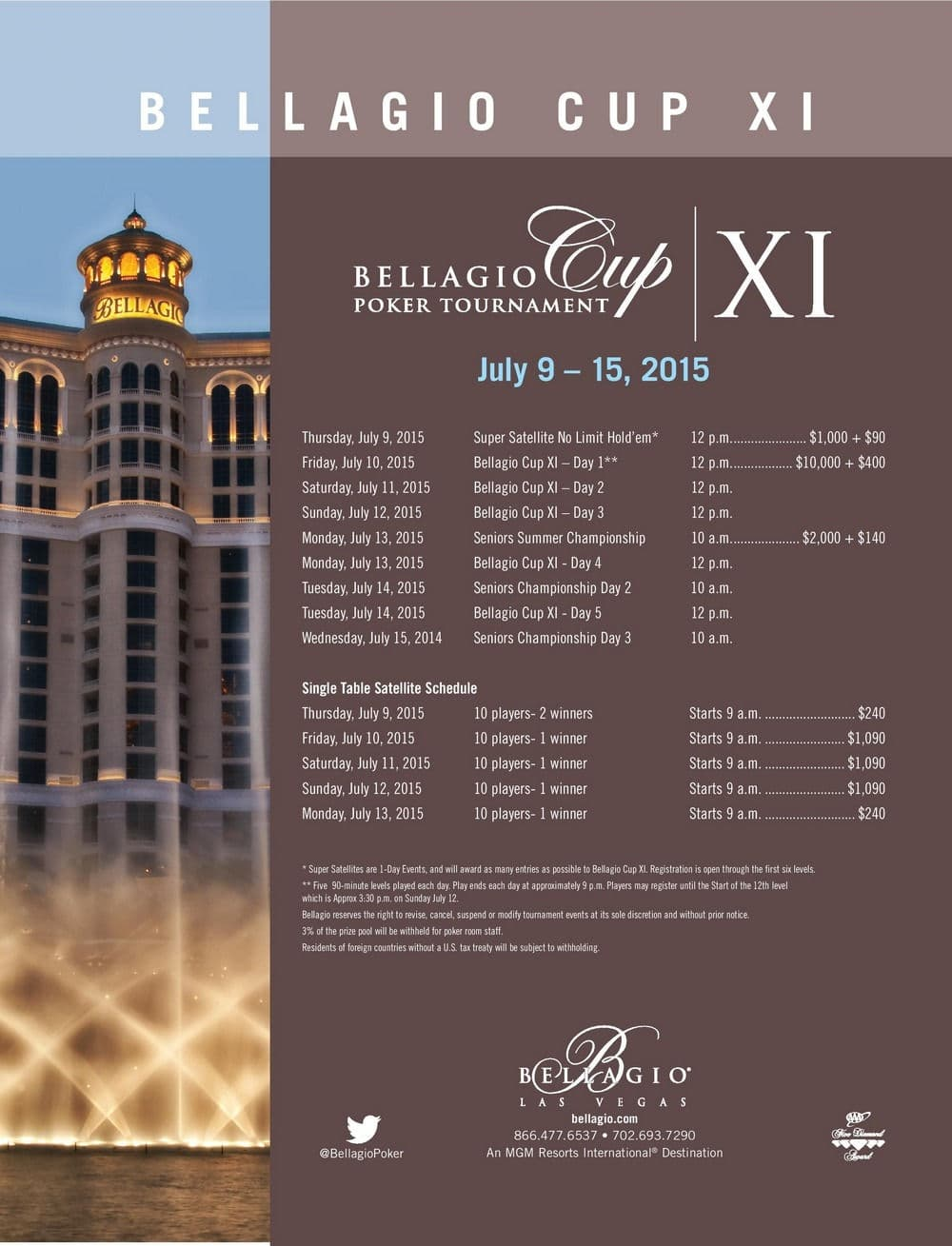 bellagio cup XI 2015 schedule