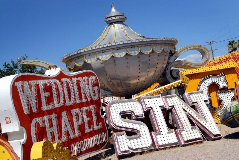 Neon Boneyard Wedding Sign Las Vegas