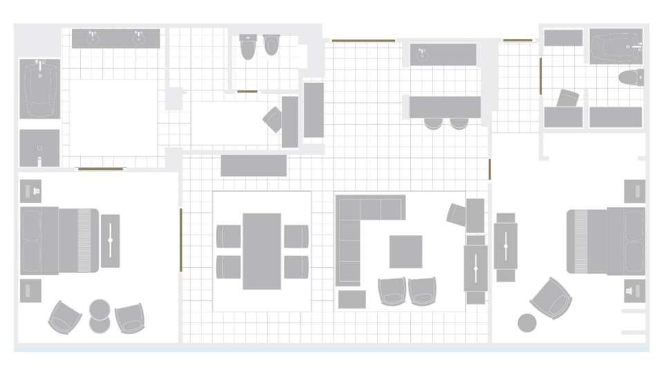 Mirage Las Vegas Two Bedroom Penthouse Suite Floorplan