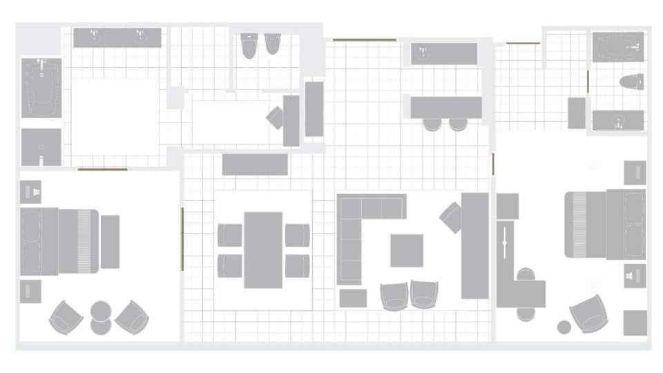 Mirage Las Vegas Two Bedroom Tower Suite Floorplan