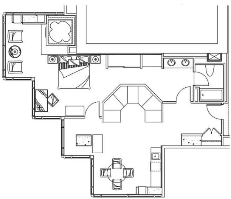 New York New York Las Vegas One Bedroom Luxury Suite Floorplan