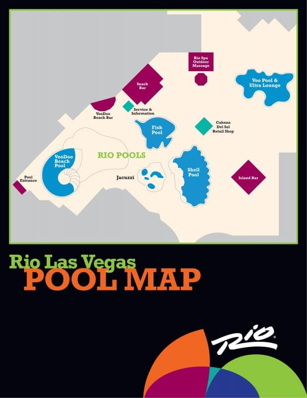 Rio Las Vegas Pool Map