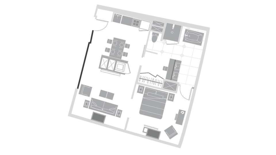Vdara Las Vegas City Corner Suite Floorplan