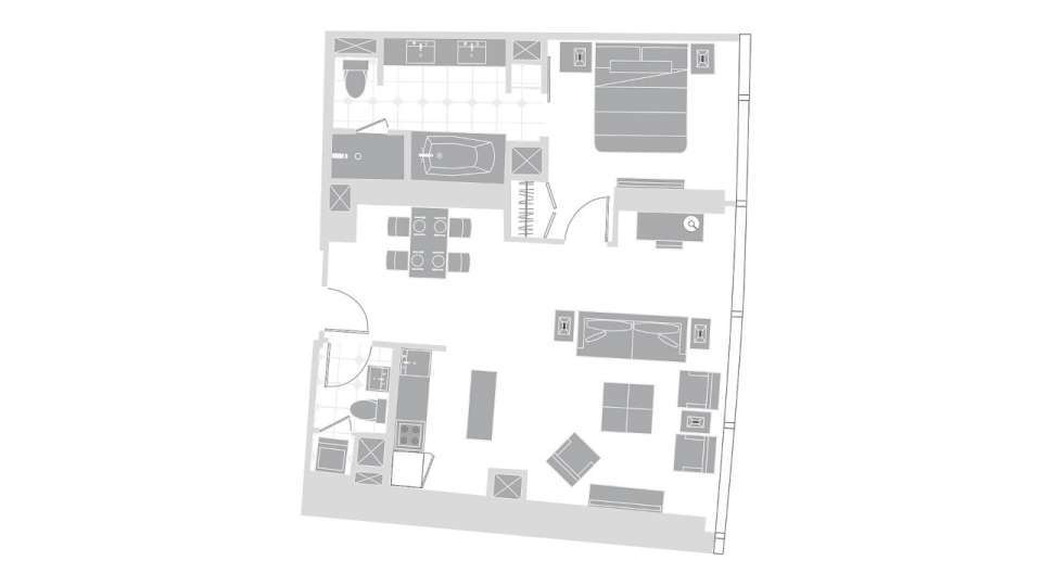 Vdara Las Vegas One Bedroom Penthouse Floorplan