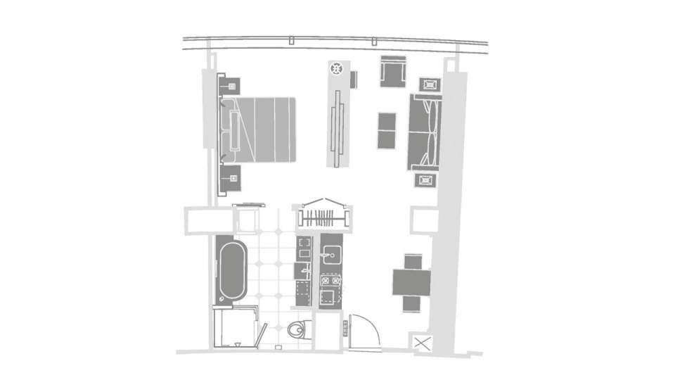 Vdara Las Vegas Studio Parlor Suite Floorplan