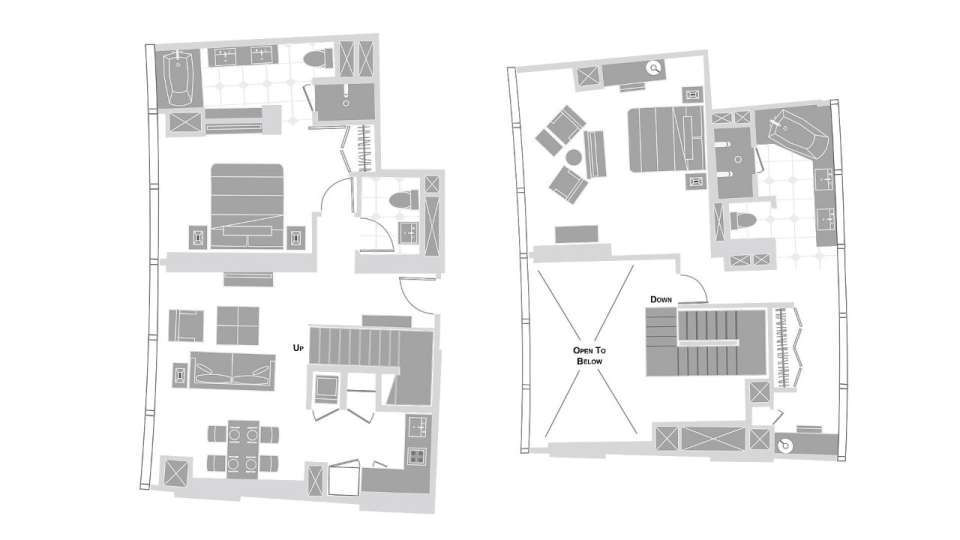 Vdara Las Vegas Two Bedroom Loft Floorplan