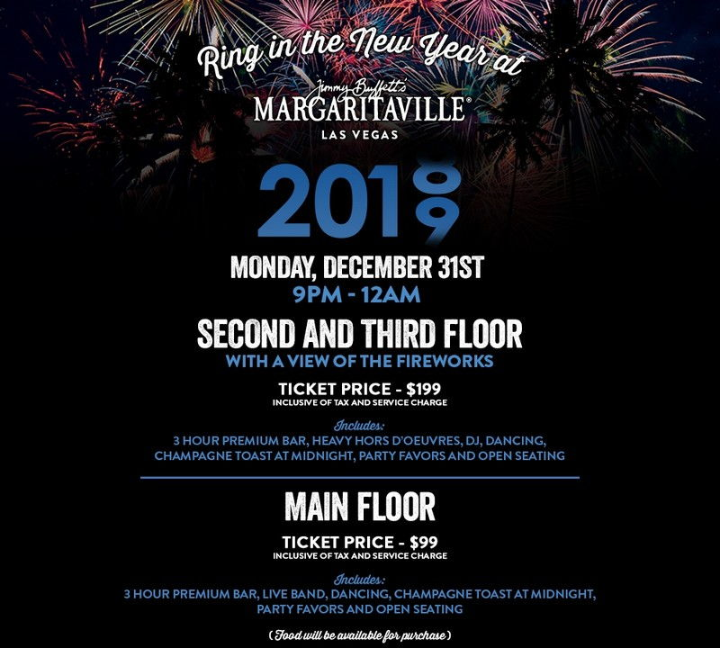 Margaritaville Las Vegas New Year's Eve 2019