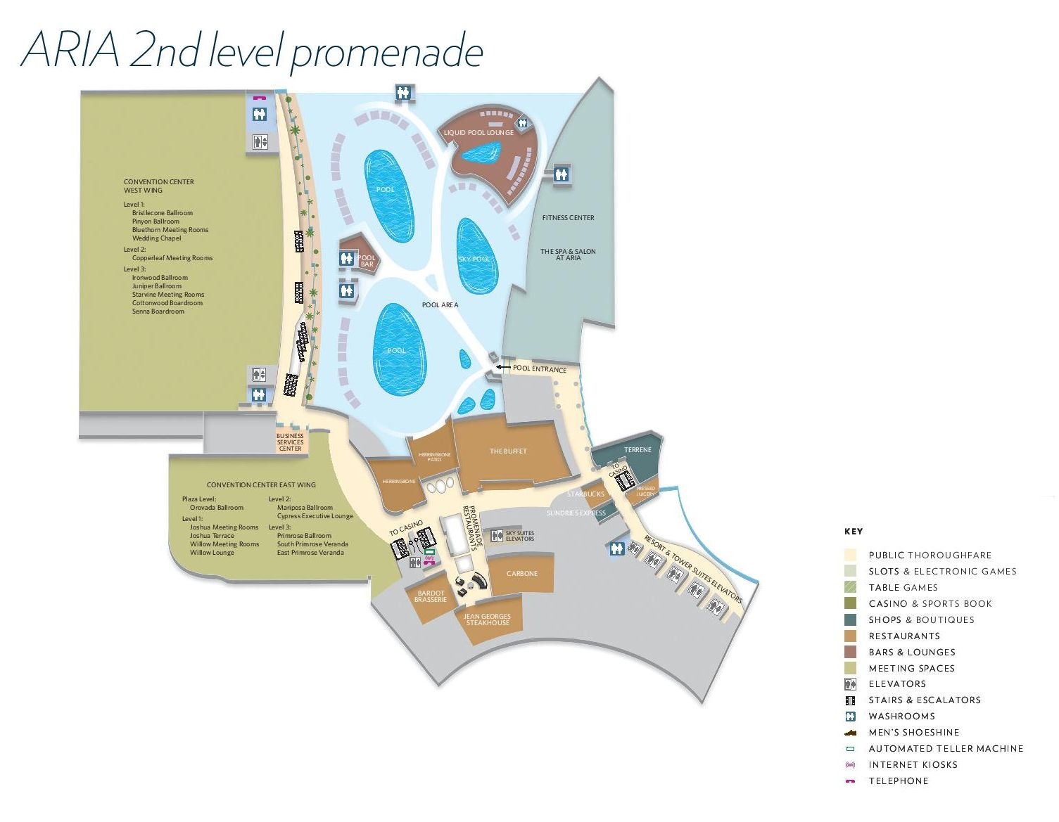 Aria Las Vegas Property Map 2nd Level Promenade