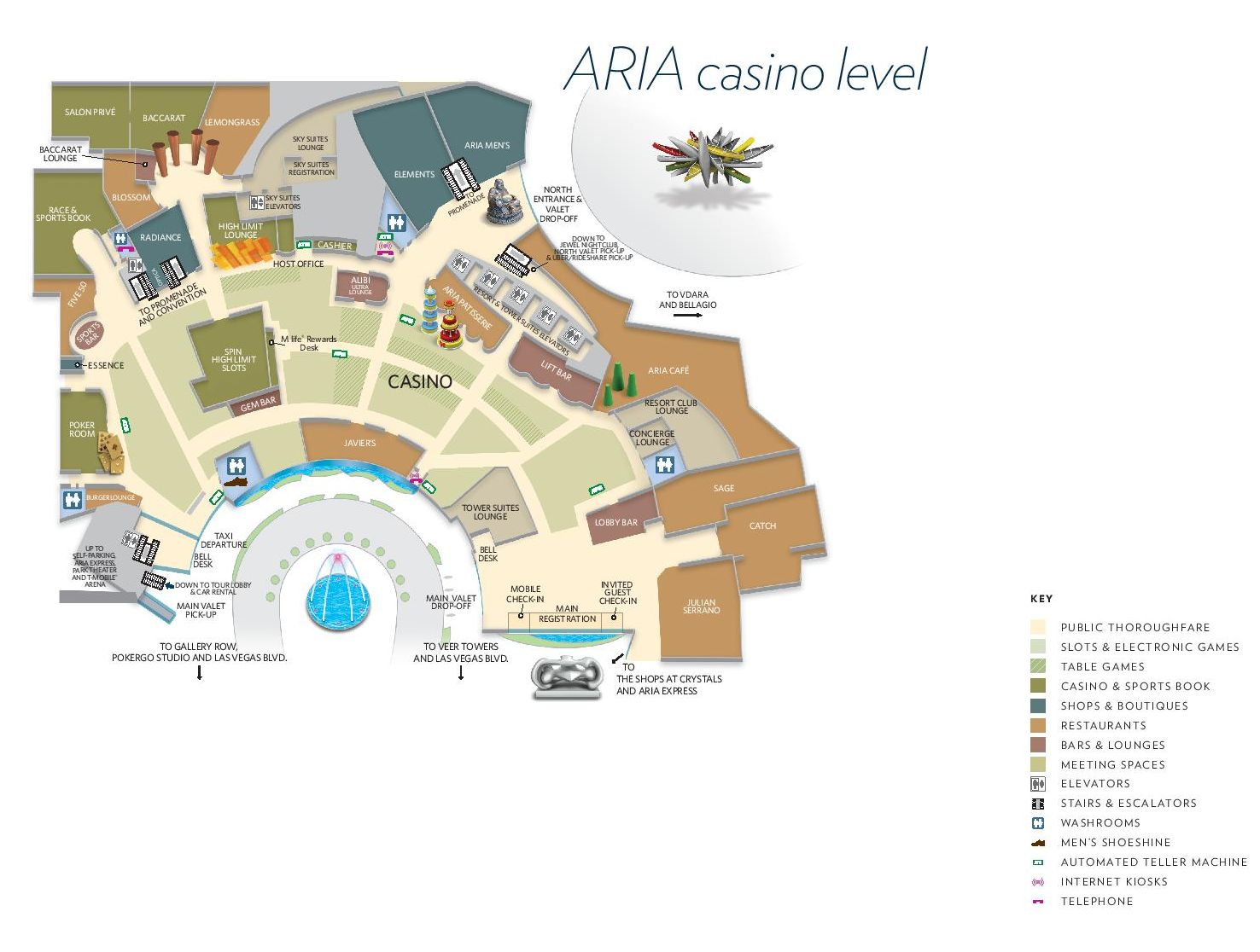 Aria Las Vegas Property Map Casino Level