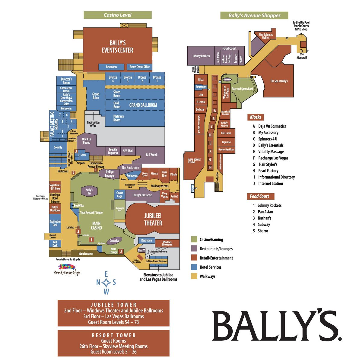 Bally s Las Vegas Property Map