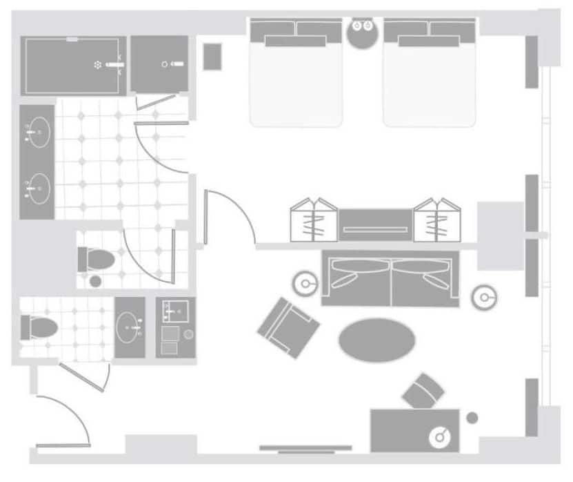 Delano Las Vegas Two Queen Suite Floor Plan