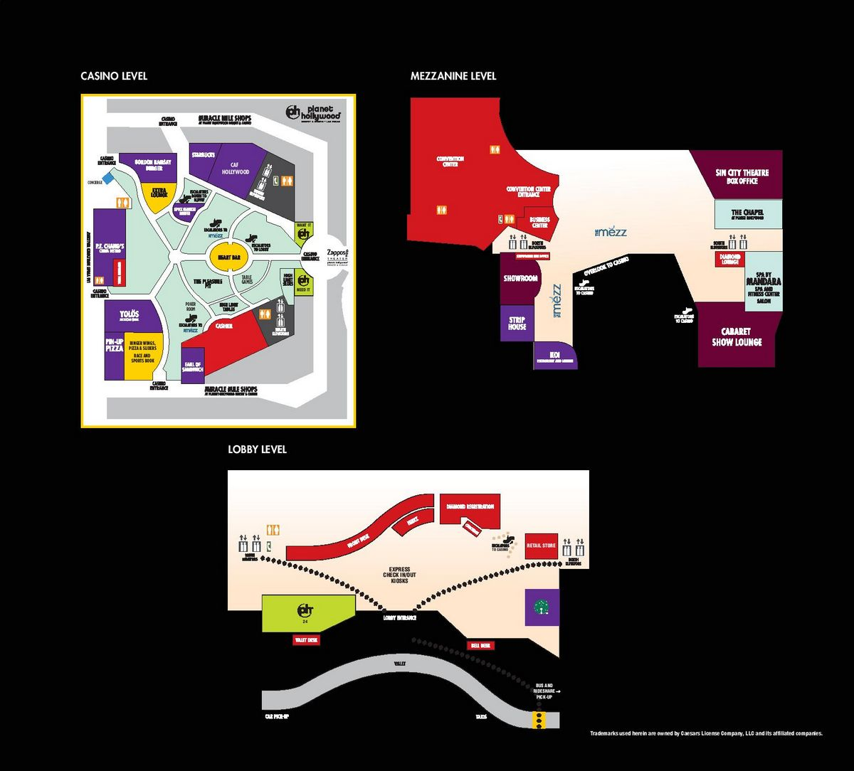 Planet Hollywood Las Vegas Property Map