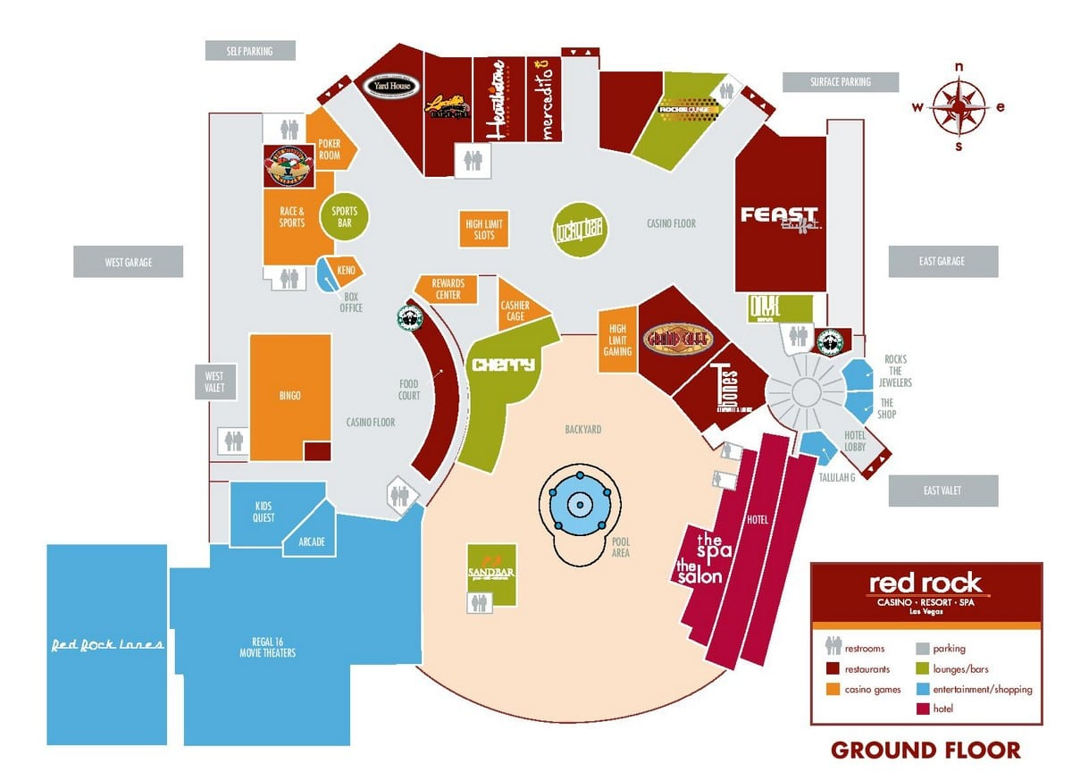 Red Rock Hotel Casino Las Vegas Property Map Ground Floor