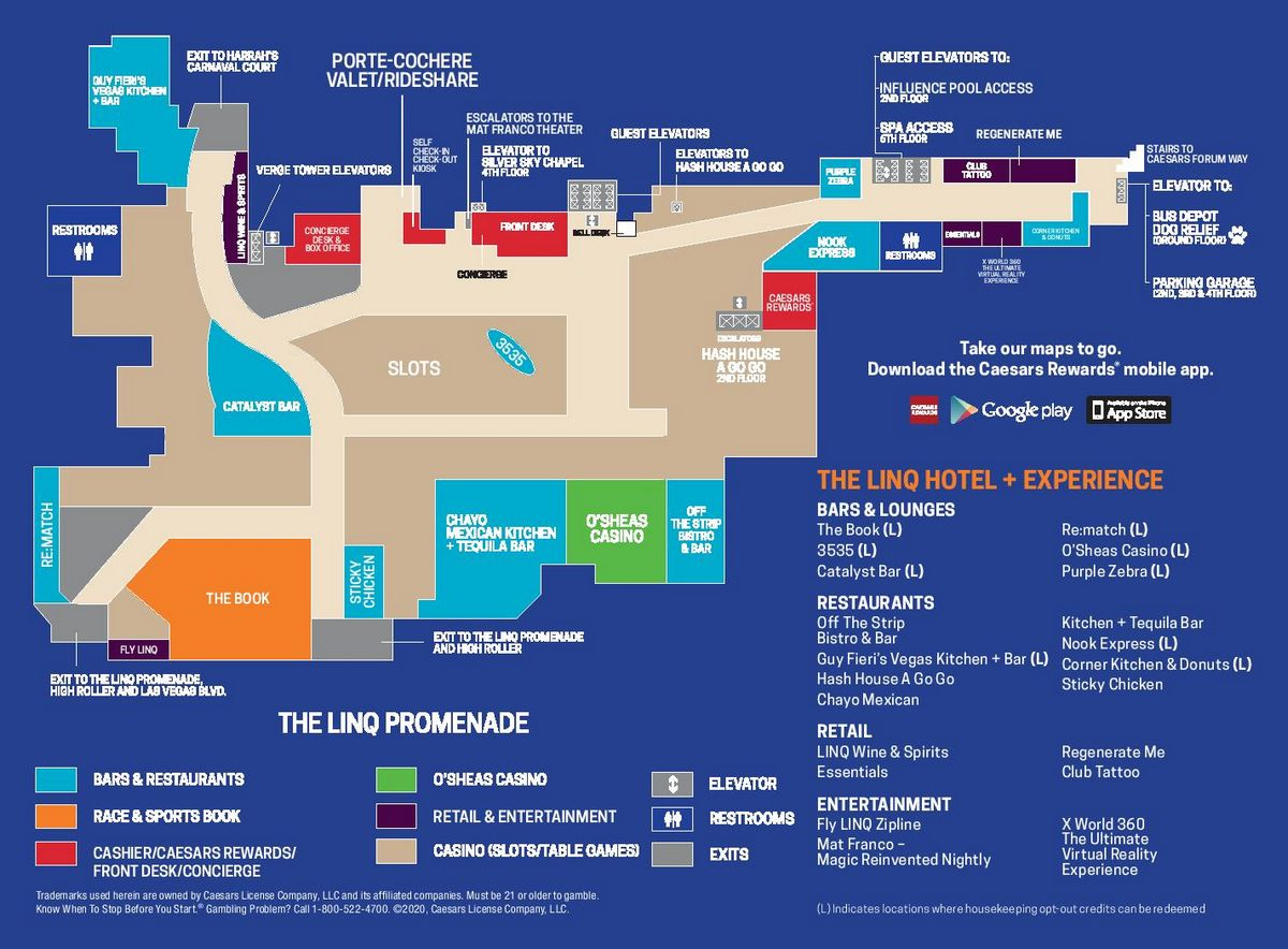 The Linq Las Vegas Property Map