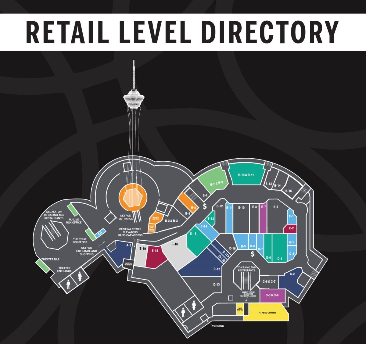 The Strat Las Vegas Property Map Retail Level