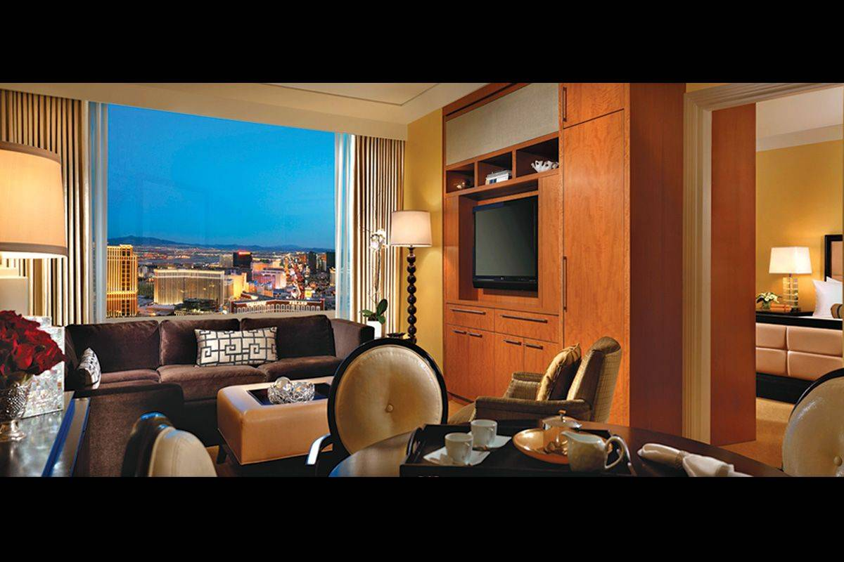 Trump Las Vegas Deluxe One Bedroom Corner Suite Living Room