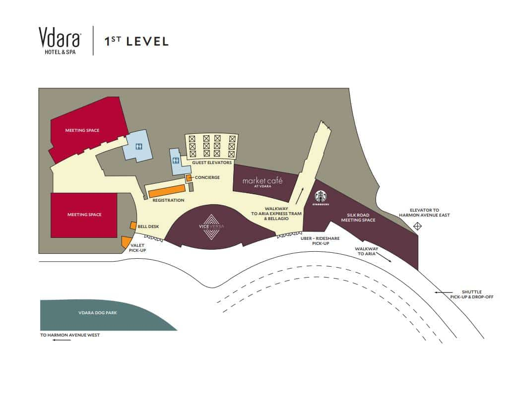 Vdara Las Vegas Property Map 1st Level