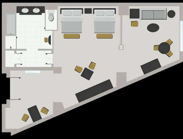 Venetian Las Vegas Premium Two Queen Suite Floor Plan