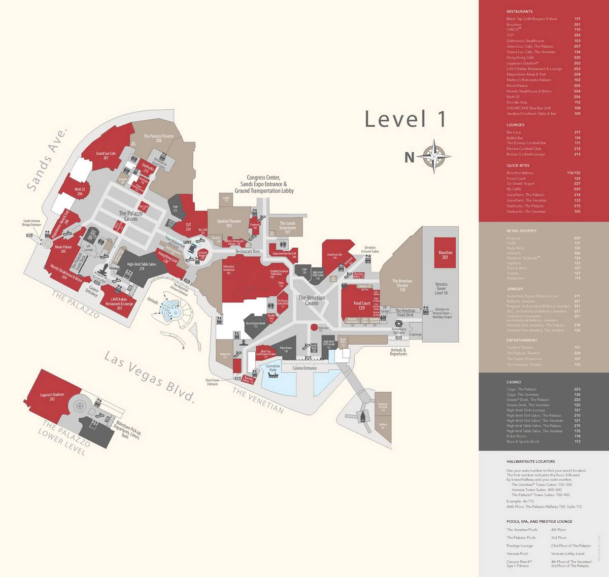 Venetian Las Vegas Property Map Level 1