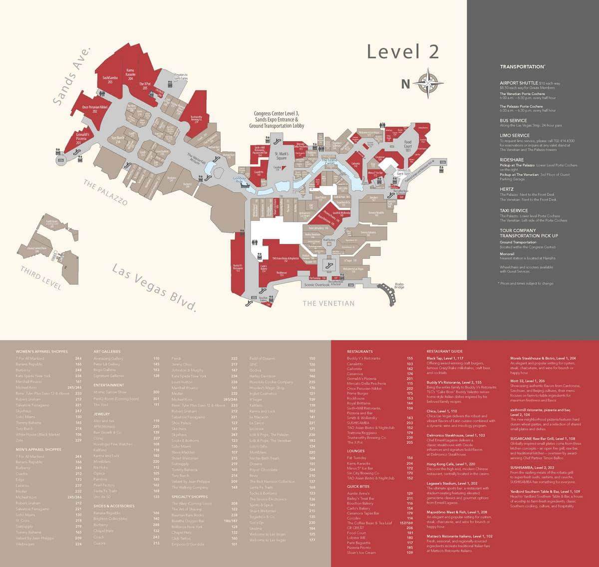 Venetian Las Vegas Property Map Level 2