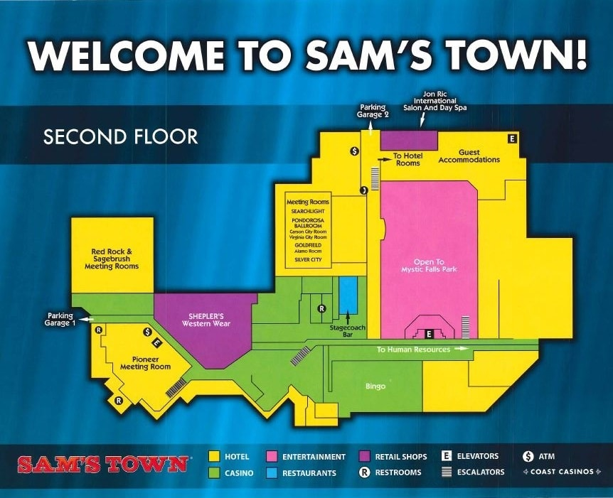 Sam's Town Las Vegas Property Map Second Floor