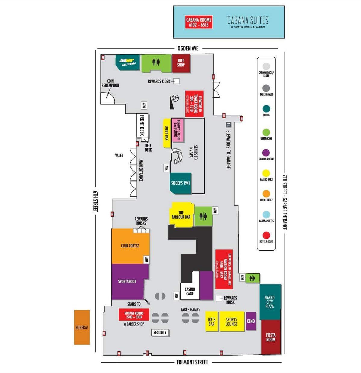 El Cortez Las Vegas Hotel Property Map