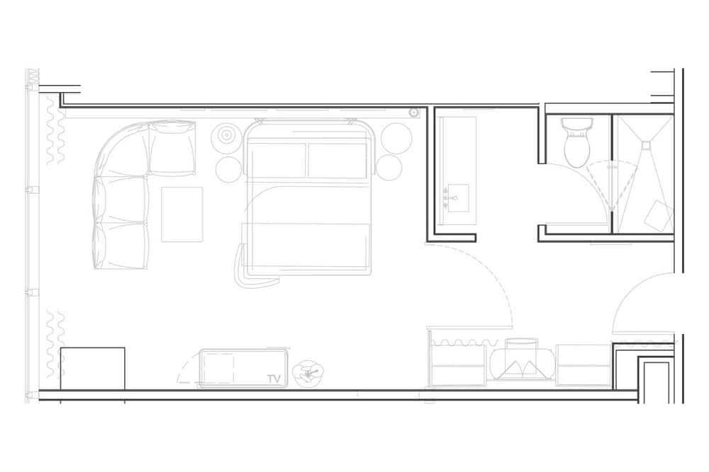 Virgin Hotels Las Vegas Opal Chamber King Room Floor Plan