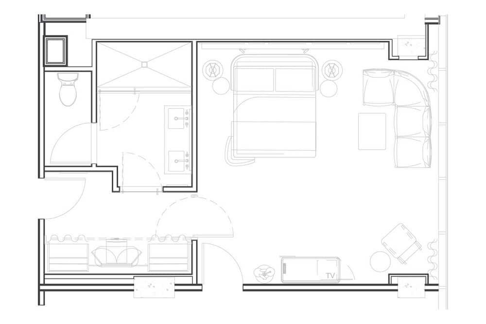 Virgin Hotels Las Vegas Ruby Petite Chamber King Room Floor Plan