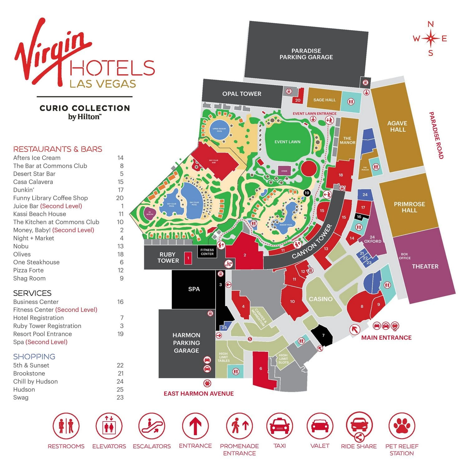 Virgin Hotels Las Vegas Property Map